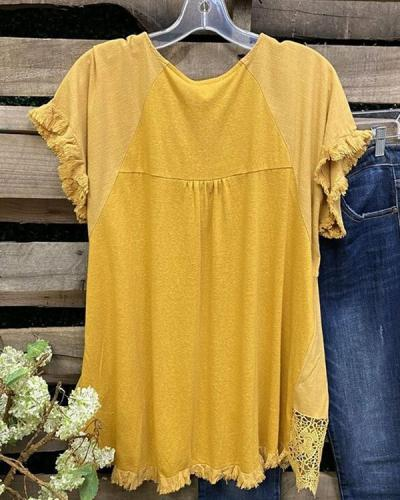 Retro Yellow  Lace  Brushed Round Neck Top