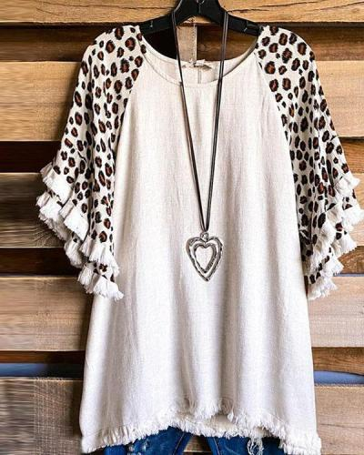 Women's Leopard Tassel Short-sleeved Tops