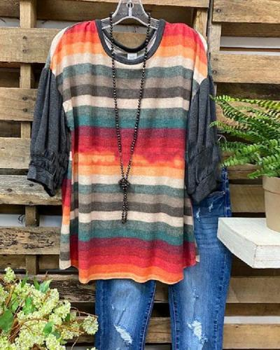 Women's Colorful Stripe Puff Sleeve Plus Size T-shirt