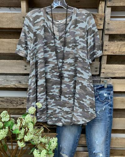 Camo Short Sleeve Printed Cotton-blend Crew Neck Casual Top