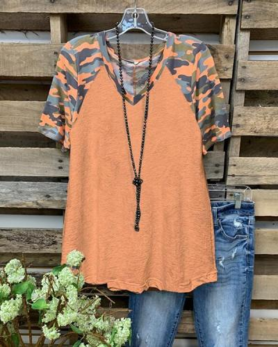 Orange Camo Cotton-blend V-Neck Casual Top