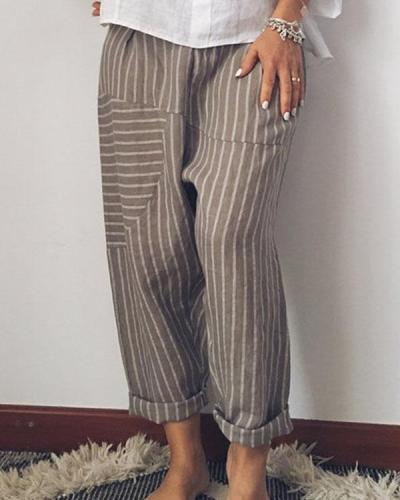 Fashion Stripe Wide Leg  Linen Pants