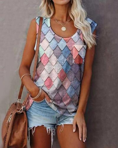 Women's Sleeveless Scoop Neck Chic Printed Tops T-shirts