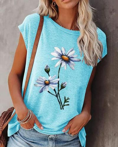 Casual Summer Women's Crew Neck Floral-print T-Shirt
