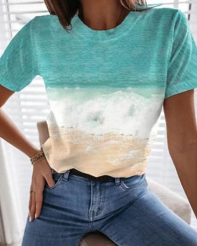 Women's Digital Print Beach Landscape Casual Shirt&Top