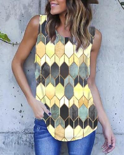 Women's Sleeveless Scoop Neck Chic Printed Tank Tops
