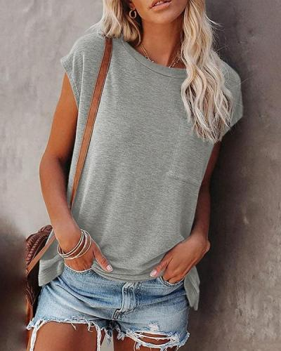 Solid Color Sleeveless Tank Slim Fit Top