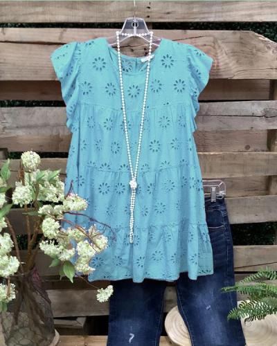 Sleeveless Crew Neck Casual Summer Top