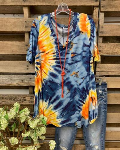 Tie-Dye Short Sleeve Vintage Printed Shirts & Tops