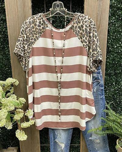 Casual Short Sleeve Leopard-Print T-Shirts