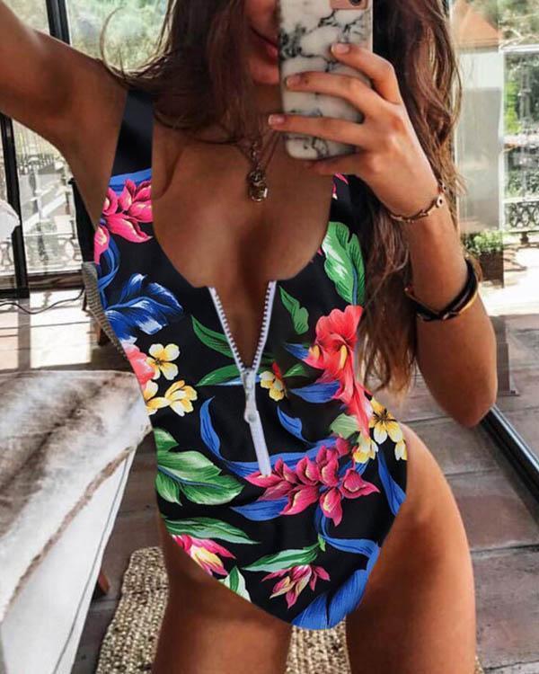 Flower Leaves Print Front Zipper One Piece Women's Swimsuit