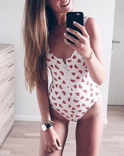Dot/Star/Fruit Print Front Zipper One Piece Women's Swimsuit