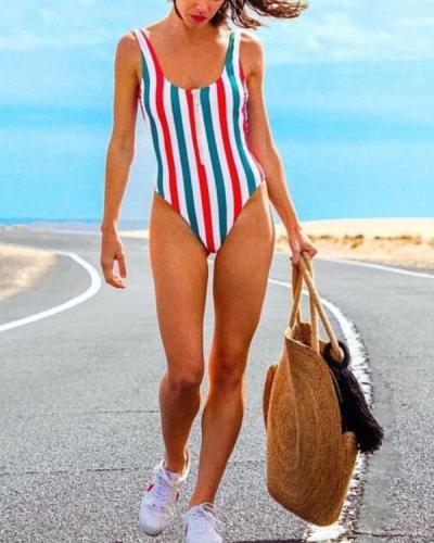 Stripe Front Zipper One Piece Women's Swimsuit