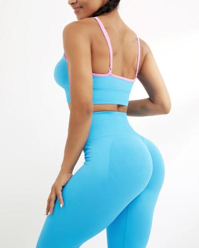 Candy Colors Sexy Casual Low-Impact Sports Bra Leggings Set