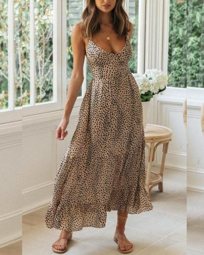Sexy Sleeveless Printing V-Neck Maxi Dress