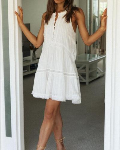 Solid Color Sleeveless Lace Mini Dress