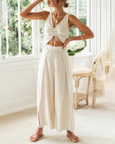 Drawstring Short-Sleeve Blouse Wide-Leg Split Trousers Two-piece Suit