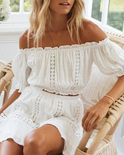 One shoulder Collar Puff Sleeve Two-piece Dress