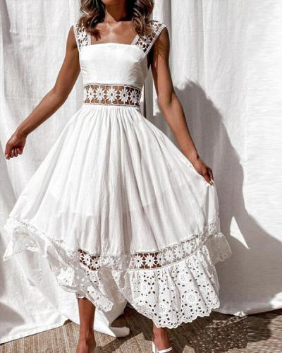 Cotton Lace Patchwork Elegant Maxi Dress