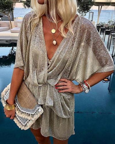 Women Transparent Batwing Sleeve Lace up Waist Sexy Dress