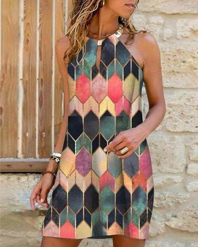 Sleeveless Print Above Knee Casual Tank Dresses