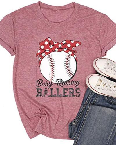 Baseball Mom Shirt Women Busy Raising Ballers Funny Tshirt