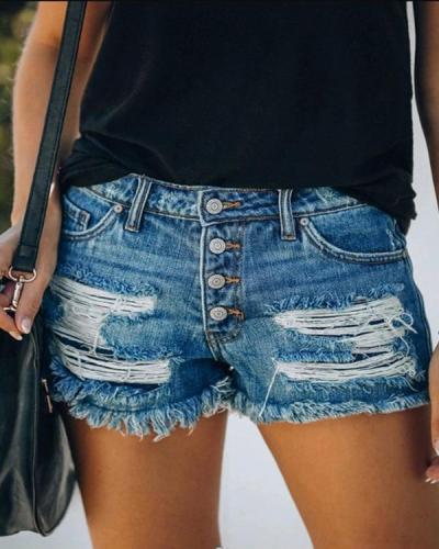 Fashion Casual Button Down Washed Denim Shorts