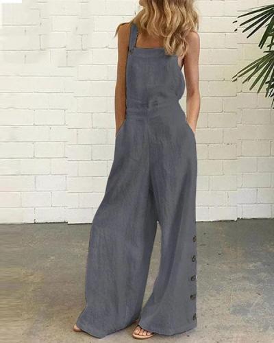 Women's Solid Color Vintage One-Pieces Jumpsuit