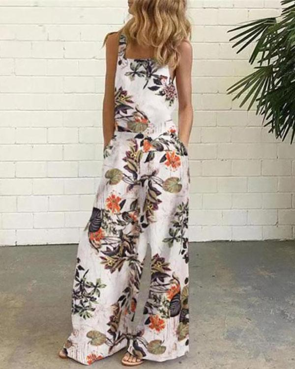 Sleeveless Floral Print One-Pieces Jumpsuit