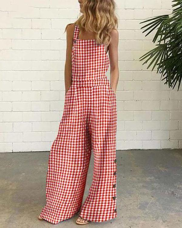 Sleeveless Casual Plaid One-Pieces Jumpsuit