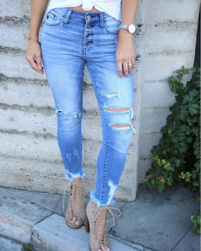 Buttoned Ripped High Rise Jeans