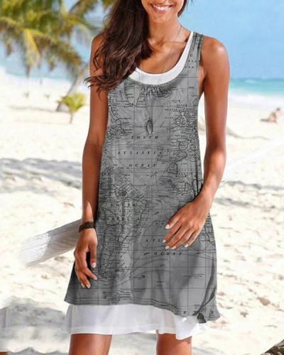 Casual Earth Printed Shift Dress