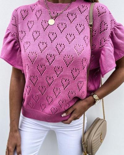 Heart-Shaped Hollow Petal-Sleeve Knit Short-Sleeve top