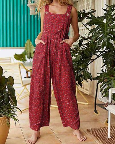 Womens Casual Loose Multiflora Jumpsuit Overalls