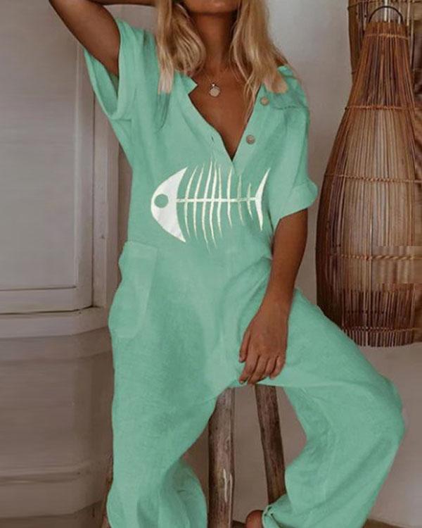 Women Linen Short Sleeve Fish Bone Print Casual Jumpsuit