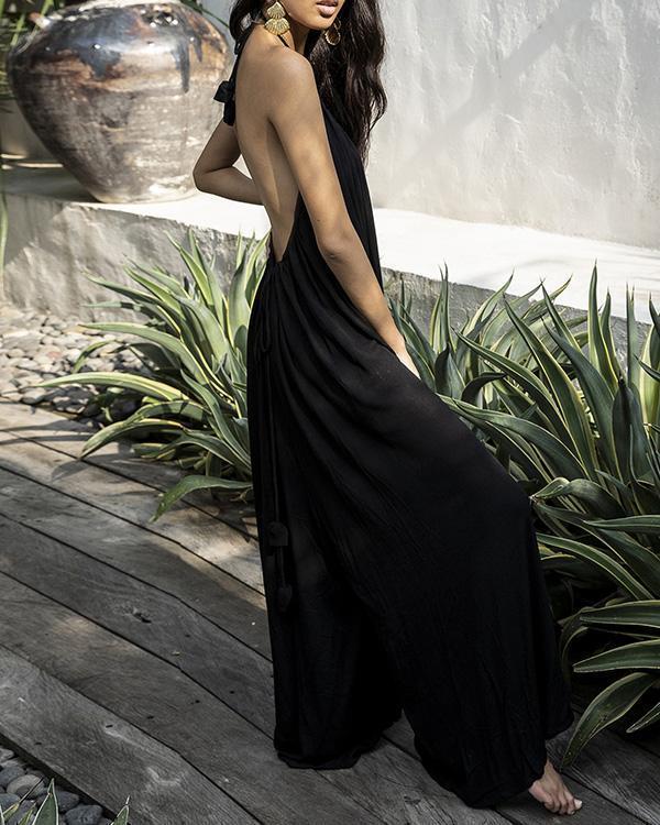 Women Sleeveless Wide Leg Solid Color Jumpsuit