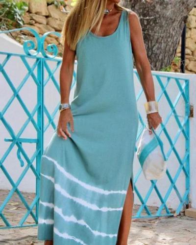 Tie Dye Sundress Vacation Sleeveless Slit Maxi Dress