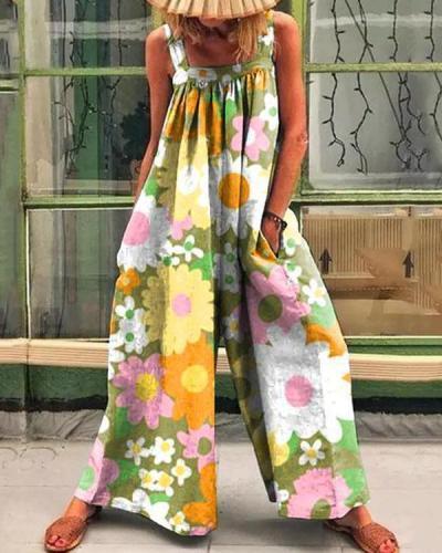 Retro Colorful Multiflora Print Casual Loose Jumpsuit
