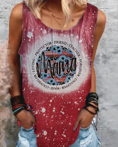 MaMa Crew Neck Printed Casual Vest