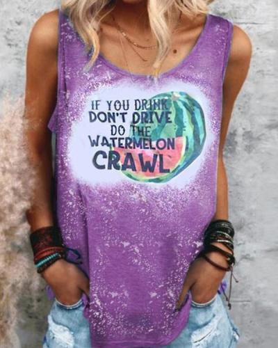 Crew Neck Watermelon Printed Casual Vest