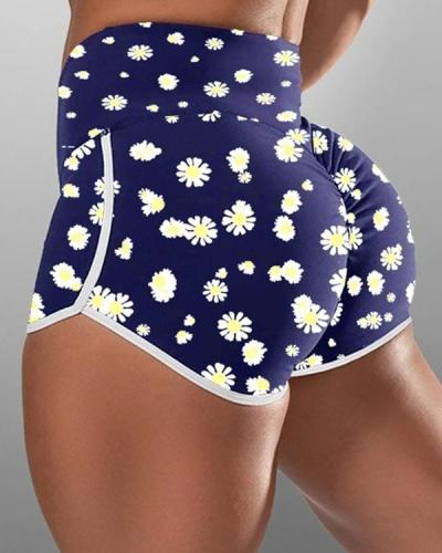 Daisy Print High-waist Hip-wrapped Running Shorts