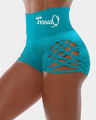 Blue Cutout Bandage High Waist Shorts Pants