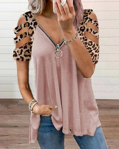 Women's Leopard V-neck Hollow Sleeve Zipper Short-sleeved Tops