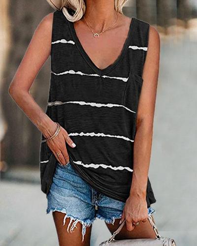 Women Plus Size Stripe Pocket Basic Vest