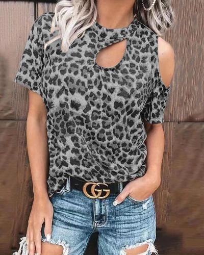 Cold Shoulder Short Sleeve Sexy Daily T-Shirt