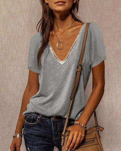 Short Sleeves Casual Solid V Neck Tops
