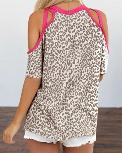 Leopard Print Cold Shoulder T-shirt
