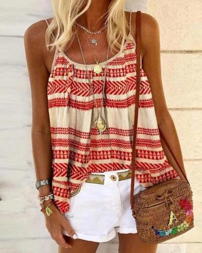 Red Sleeveless Casual Striped Cotton-Blend Shirts & Vests