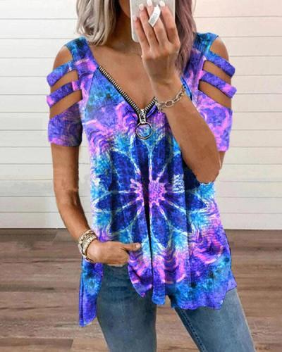 Designer Zipper Ethnic Tie Dye Graphic Tees