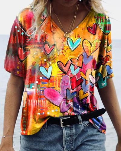 Heart-Shaped V-neck Loose Orange Graphic Tees